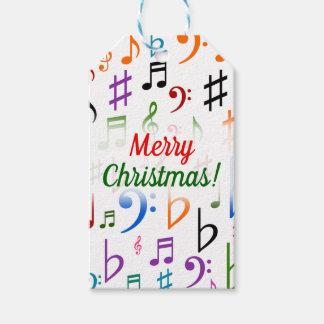 Etiquetas Para Regalos Navidad; Muchas notas y símbolos coloridos de la