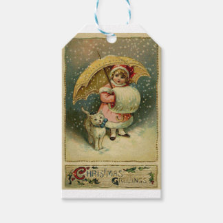 Etiquetas Para Regalos Navidad retro del niño y del gato del vintage del