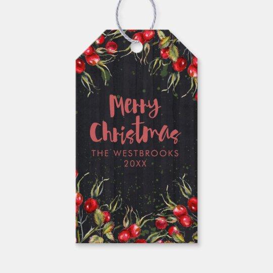 Etiquetas Para Regalos Navidad rojo de la baya