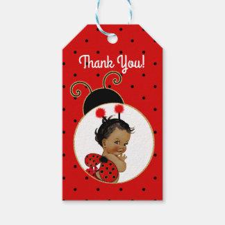 Etiquetas Para Regalos Niña afroamericana de la mariquita roja y negra