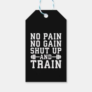 Etiquetas Para Regalos Ningún dolor ningún aumento, cerró y entrena - a
