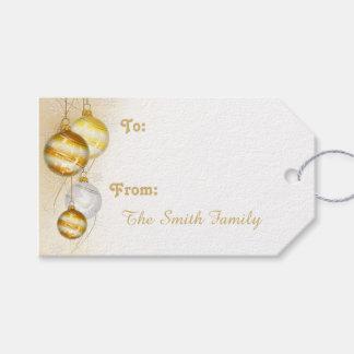 Etiquetas Para Regalos Ornamentos blancos de la bola del oro del navidad