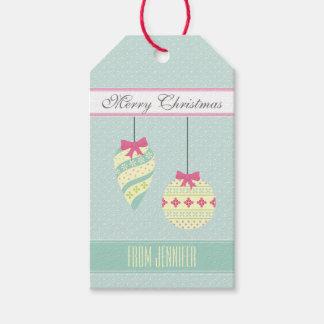 Etiquetas Para Regalos Ornamentos gráficos azules helados del navidad de