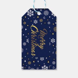 Etiquetas Para Regalos Oro de las Felices Navidad y copos de nieve