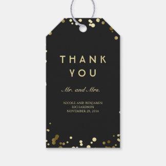 Etiquetas Para Regalos Oro y boda elegante del confeti negro