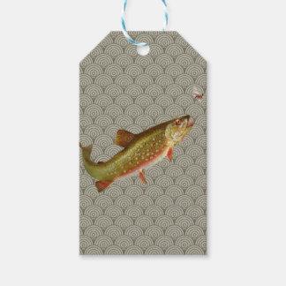 Etiquetas Para Regalos Pesca con mosca de la trucha arco iris del vintage