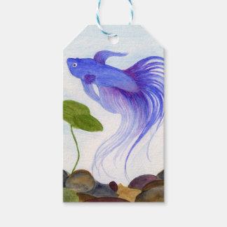 Etiquetas Para Regalos Pescados azules de Betta