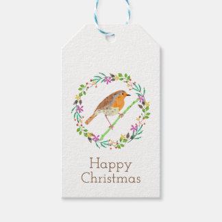 Etiquetas Para Regalos Petirrojo el pájaro del navidad