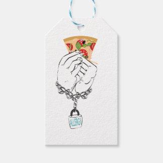 Etiquetas Para Regalos Pizza sabrosa del dibujo animado y Hands2