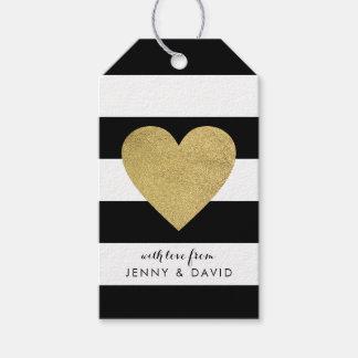 Etiquetas Para Regalos Rayas negras y blancas con el corazón de la hoja