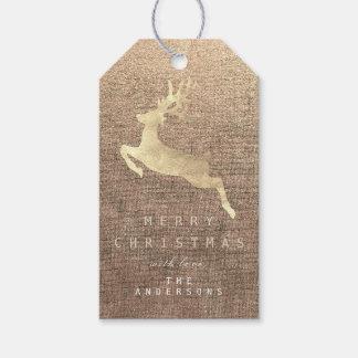 Etiquetas Para Regalos Reno de lino de la arpillera del oro de la sepia