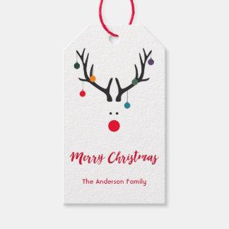 Etiquetas Para Regalos Reno lindo divertido moderno del navidad en blanco