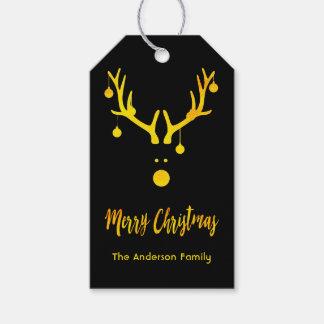 Etiquetas Para Regalos Reno lindo divertido moderno del oro del navidad