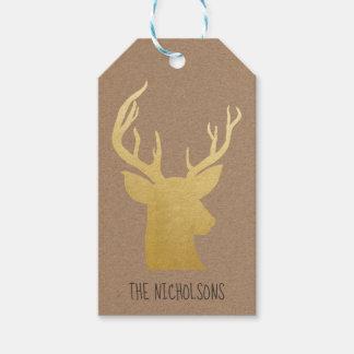 Etiquetas Para Regalos Reno rústico del oro del navidad del papel de