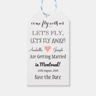 Etiquetas Para Regalos Reserva ausente del boda del destino de la mosca