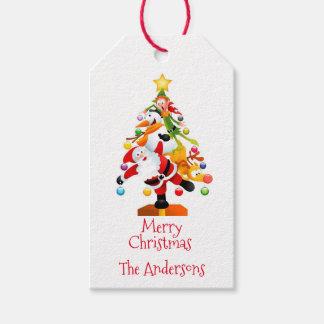 Etiquetas Para Regalos Santa, Rudolph, muñeco de nieve y duende