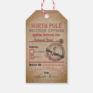 Etiquetas Para Regalos Santa travieso del reno de Polo Norte o Niza