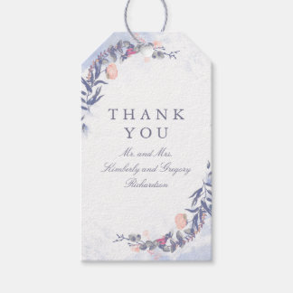 Etiquetas Para Regalos Se ruboriza y el boda floral azul polvoriento