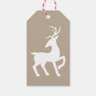 Etiquetas Para Regalos Silueta blanca de los ciervos en color beige