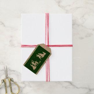Etiquetas Para Regalos Silueta del verde del arte de las Felices Navidad