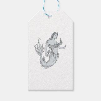 Etiquetas Para Regalos Sirena del vintage que sostiene el dibujo de la