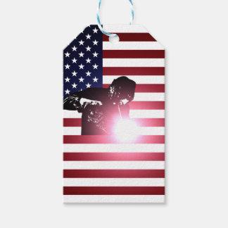 Etiquetas Para Regalos Soldador y bandera americana