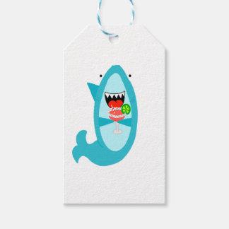Etiquetas Para Regalos Tiburón fresco que bebe a una Margarita