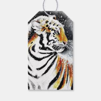 Etiquetas Para Regalos Tigre en la nieve noir