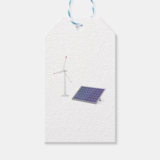 Etiquetas Para Regalos Turbina de viento y el panel solar
