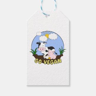 Etiquetas Para Regalos Va el vegano - cerdo, vaca y pollo lindos