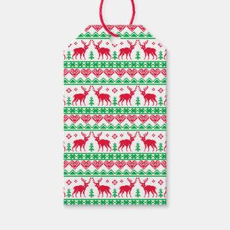 Etiquetas Para Regalos Verde rojo del reno pegajoso nórdico del navidad