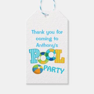 Etiquetas personalizadas fiesta en la piscina azul etiquetas para regalos