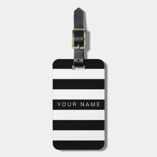 Etiquetas personalizadas rayadas negras y blancas