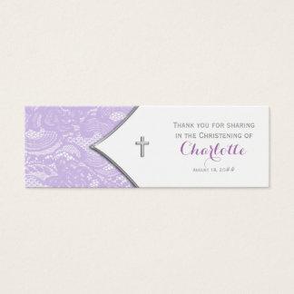 Etiquetas púrpuras de Bomboniere de la cruz del