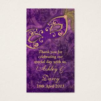 Etiquetas púrpuras del favor del boda de la