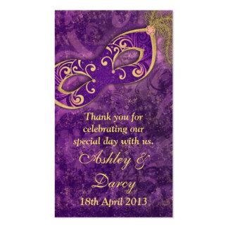Etiquetas púrpuras del favor del boda de la mascar tarjetas personales