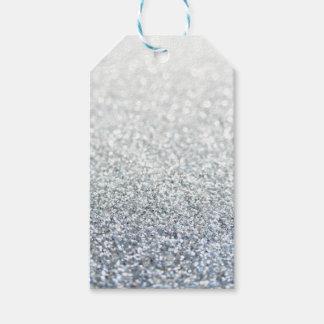 Etiquetas purpurinoso de plata y grises del regalo