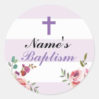Etiquetas religiosas de la púrpura de los pegatina redonda