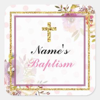 Etiquetas religiosas del rosa de la cruz de los pegatina cuadrada
