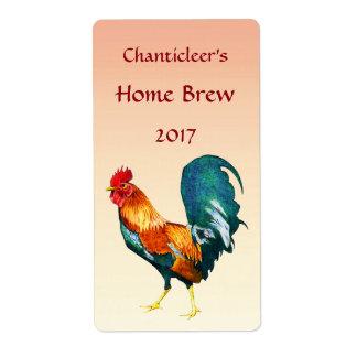Etiquetas rojas de la cerveza del pájaro del gallo etiqueta de envío