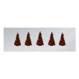 Etiquetas rojas del árbol de navidad del día de fi tarjetas de visita mini