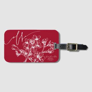 Etiqueta Para Maletas Etiquetas rojas del equipaje de la flor de cerezo