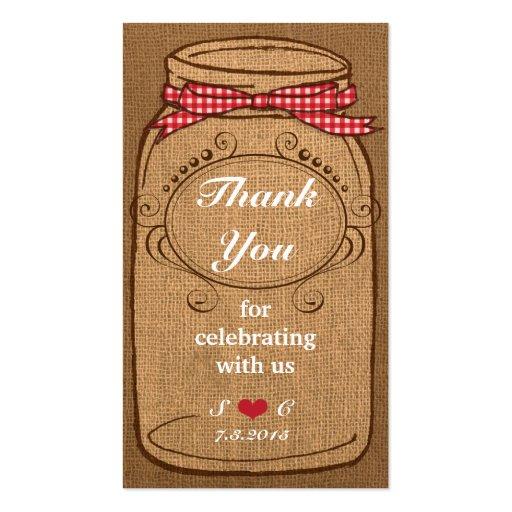 Etiquetas rojas del favor del tarro de albañil de  tarjetas de visita