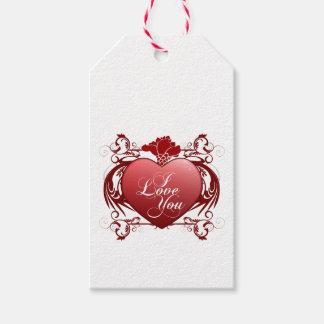 Etiquetas rojas del regalo del corazón te amo etiquetas para regalos