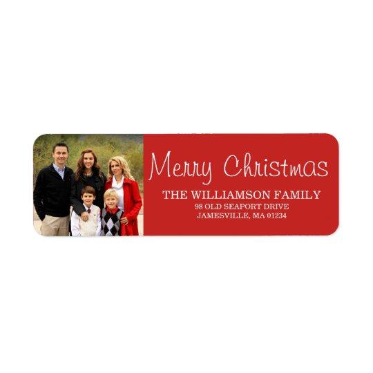 Etiquetas rojas del remite de la foto de familia etiqueta de remitente