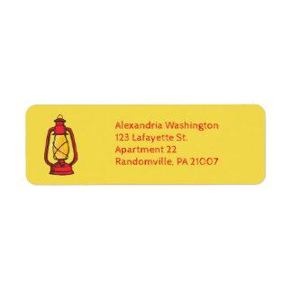 Etiquetas rojas del remite de la linterna que etiqueta de remitente