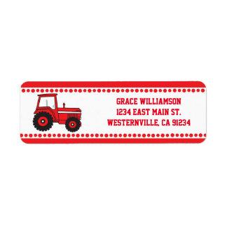 Etiquetas rojas del remite del tractor