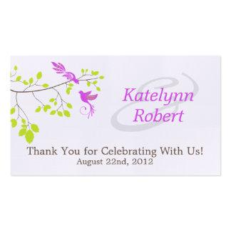 Etiquetas románticas violetas del favor del boda tarjetas de visita