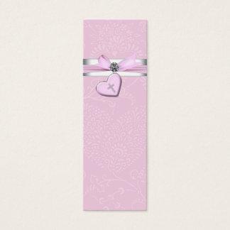 Etiquetas rosadas de Bomboniere de la cruz del