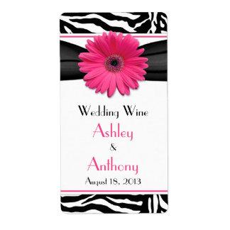 Etiquetas rosadas de la botella de vino del boda d etiquetas de envío